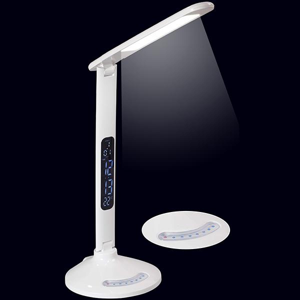 מנורת שולחן לד מופעלת במגע כולל שעון, תאריכון ומטען לנייד